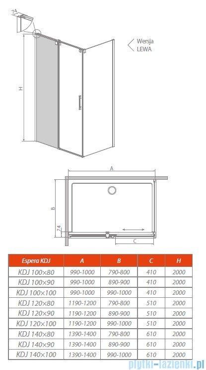 Radaway Espera KDJ Mirror kabina prysznicowa 140x80 lewa szkło przejrzyste rysunek techniczny