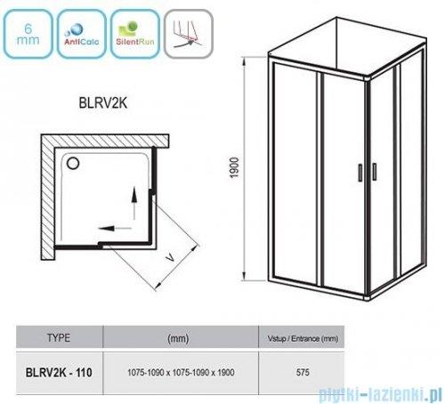 Ravak Blix BLRV2K drzwi prysznicowe 1/2 110cm satyna grape Anticalc 1XVD0U00ZG