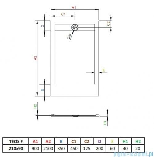 Radaway Teos F brodzik 210x90cm antracyt HTF21090-64