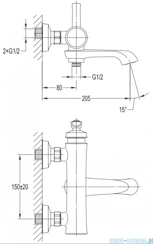 Omnires Armance bateria wannowa miedź antyczna AM5230ORB