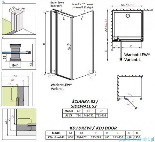 Radaway Eos II Kdj kabina prysznicowa 80x75cm lewa szkło przejrzyste 3799420-01L/3799429-01R