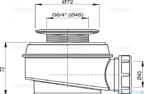 Alcaplast  syfon brodzikowy Ø52 z metalowym sitkiem A46-50