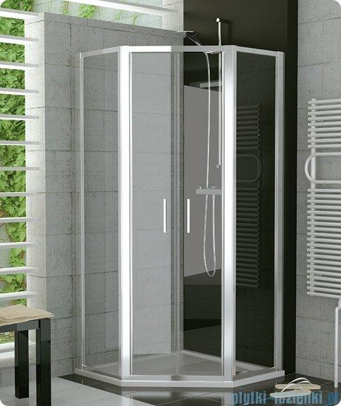 SanSwiss Top-Line Pięciokątna kabina prysznicowa TOP52 z drzwiami otwieranymi 100x100cm pas/połysk TOP5270805051