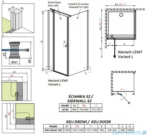 Radaway Eos II KDJ kabina prysznicowa 120x80 lewa szkło przejrzyste + brodzik Argos D + syfon 3799424-01L/3799430-01R/4AD812-01