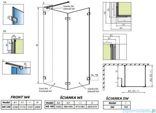 Radaway Euphoria Walk-in IV kabina 120x100cm szkło przejrzyste 383144-01-01/383152-01-01/383160-01-01