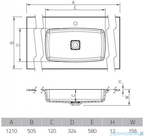 Vayer Citizen Leo 121x50cm umywalka strukturalna matowa kolor 03 rysunek techniczny