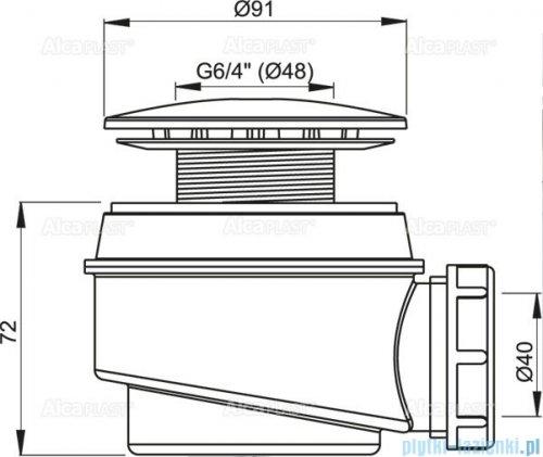 Alcaplast  syfon brodzikowy Ø60 korek biały A47B-60