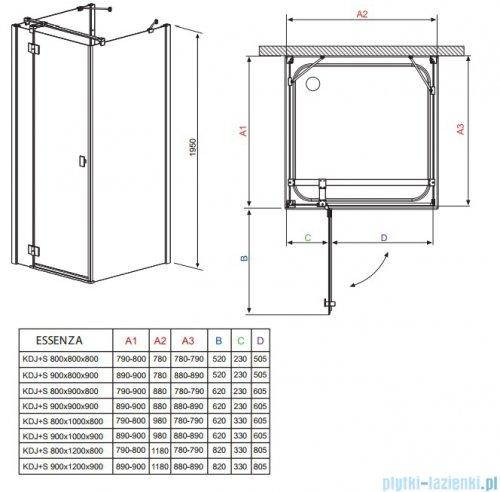 Radaway Kabina prysznicowa Essenza KDJ+S 90x100x90 lewa szkło przejrzyste rysunek techniczny