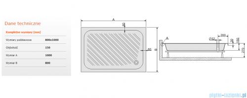 Sanplast Classic brodzik prostokątny 100x80x15cm+stelaż 615-010-0430-01-000
