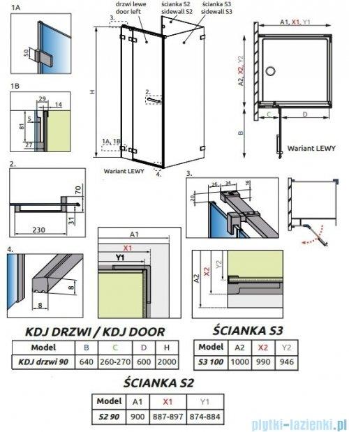 Radaway Euphoria KDJ P Kabina przyścienna 90x100x90 lewa szkło przejrzyste 383612-01L/383241-01L/383030-01/383036-01