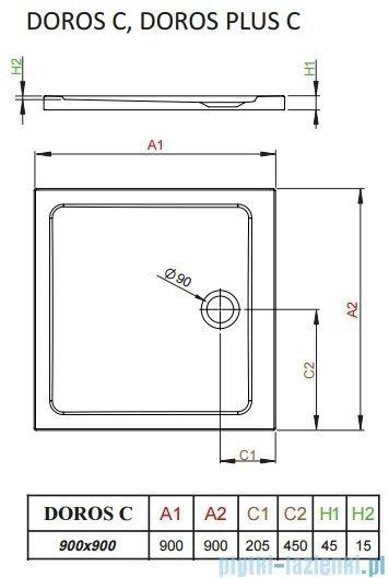 Radaway Arta Kdj I kabina 90x90cm prawa szkło przejrzyste + brodzik Doros C + syfon