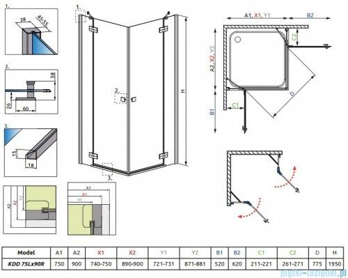 Radaway Almatea Kdd Gold kabina prysznicowa 75x90 szkło grafitowe 32185-09-05NL