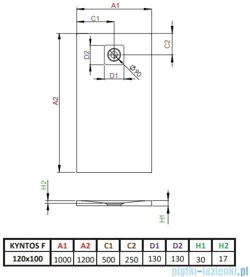 Radaway Kyntos F brodzik 120x100cm antracyt HKF120100-64