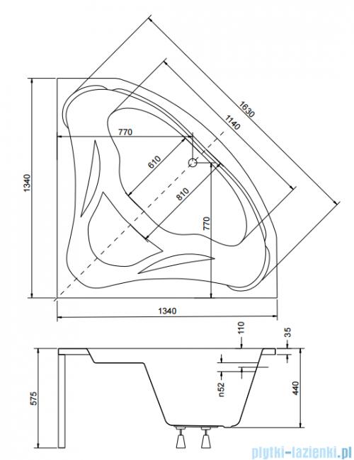 Piramida Ewa 134x134cm Wanna symetryczna