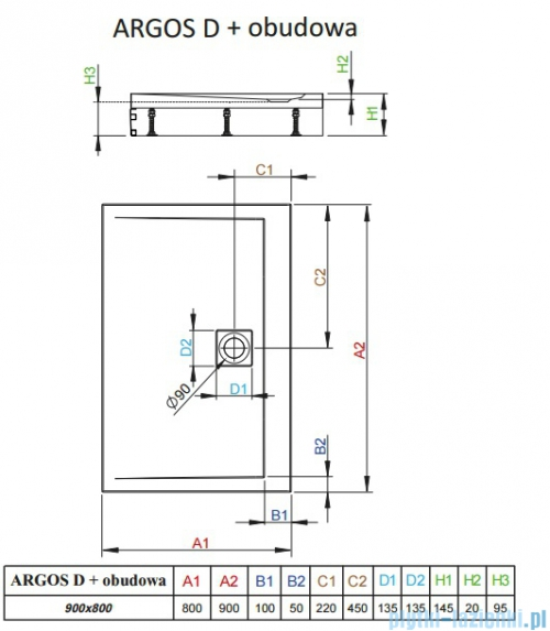 Radaway Brodzik prostokątny Argos D 90x80x14,5 cm + nogi 4ADN89-02