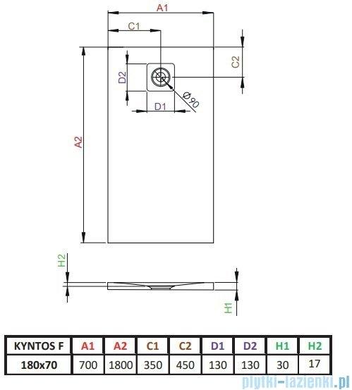 Radaway Kyntos F brodzik 180x70cm antracyt HKF18070-64