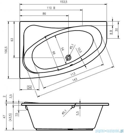 Riho Lyra wanna asymetryczna prawa 153x100 z hydromasażem TOP Hydro 6+4+2/Aero11 BA67T5