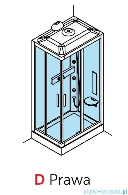 Novellini Glax 3 kabina prysznicowa masażowo-parowa 100x70 prawa srebrny GL3A197DM1N-1B