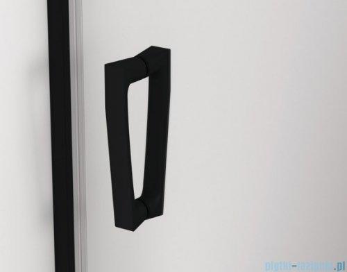 SanSwiss Cadura Black Line drzwi przesuwne 100cm jednoskrzydłowe lewe z polem stałym profile czarny mat CAS2G1000607