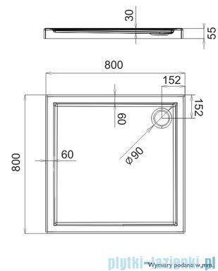 Schedpol Brodzik kwadratowy Caspar 80x80x5,5cm 3.260