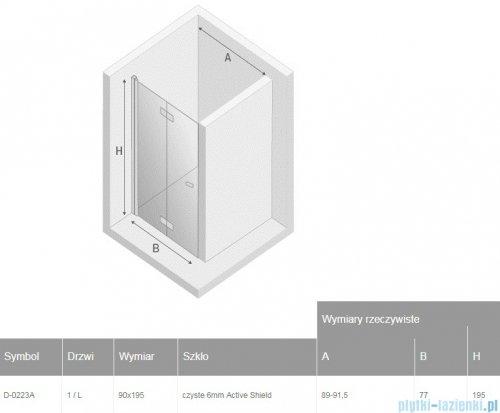 New Trendy New Soleo Black drzwi wnękowe bifold 90x195 cm przejrzyste lewe D-0223A
