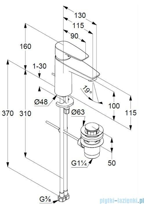 Kludi Pure&Solid XL jednouchwytowa bateria umywalkowa chrom 342900575