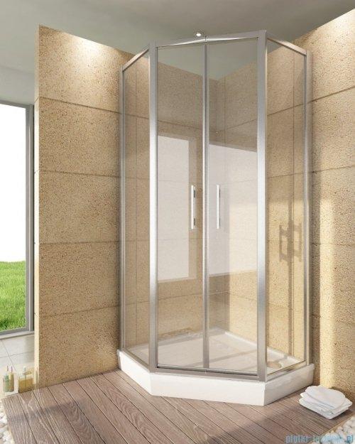 SanSwiss Top-Line Pięciokątna kabina prysznicowa TOP52 z drzwiami otwieranymi 100x100cm krople/srebrny mat TOP5271000144