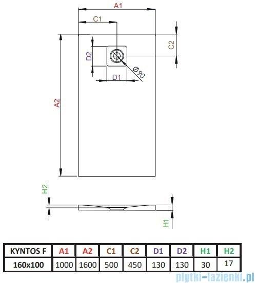 Radaway Kyntos F brodzik 160x100cm antracyt rysunek techniczny
