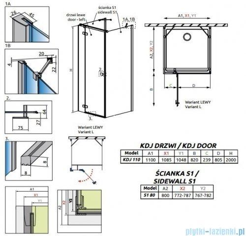 Radaway Fuenta New Kdj+S kabina 80x110x80cm lewa szkło przejrzyste 384023-01-01L/384051-01-01/384051-01-01