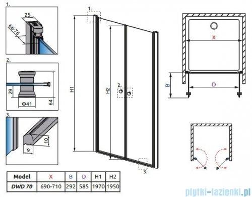 Radaway Eos DWD Drzwi wnękowe 70 szkło przejrzyste rysunek techniczny
