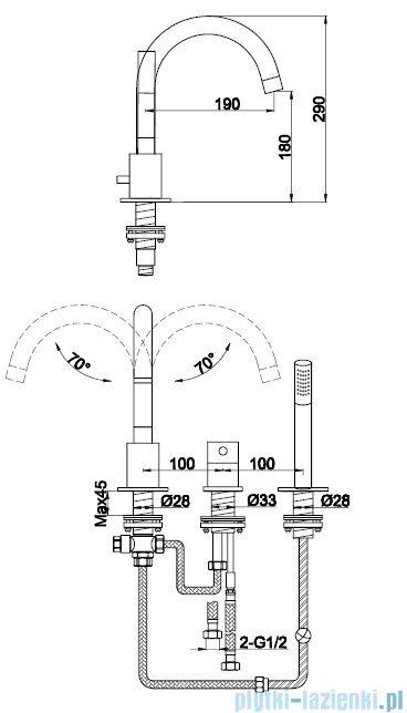 Kohlman Roxin 3-otworowa bateria wannowa QB241RN
