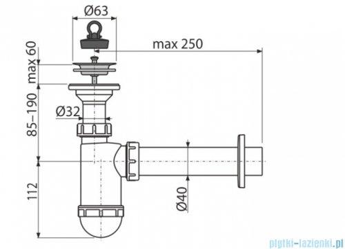 Alcaplast syfon umywalkowy DN40, sitko nierdzewne DN63 A41