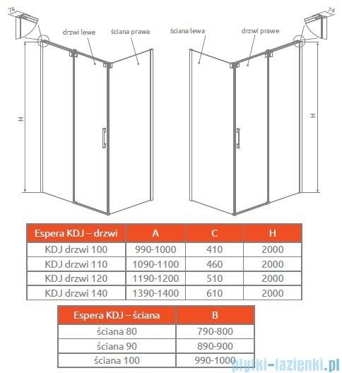 Radaway Espera KDJ S Ścianka boczna 90 prawa szkło przejrzyste 380149-01R