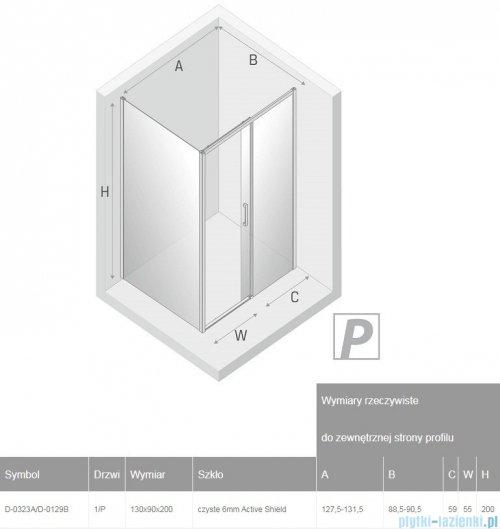 New Trendy Prime Black kabina prostokątna 130x90x200 cm prawa przejrzyste D-0323A/D-0129B