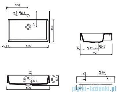 Marmorin Teo 600 umywalka wisząca 60x31 z otworem przelewowym i z otworem na baterie biała 641060020211