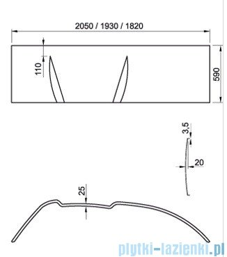 Ravak Panel do wanny Asymmetric 150 L CZ44100000