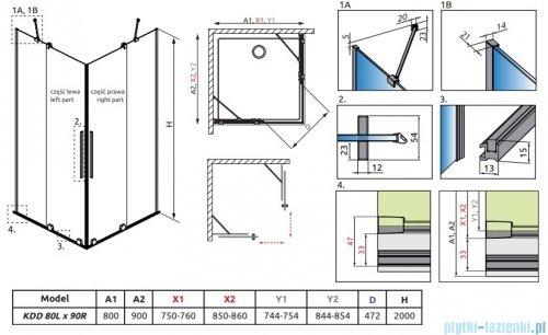 Radaway Furo Black KDD kabina 80x90cm szkło przejrzyste 10105080-54-01L/10105090-54-01R