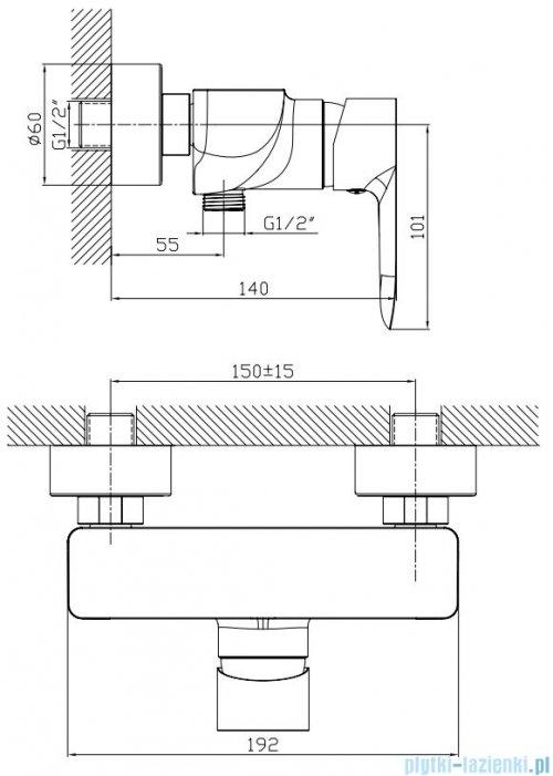 Omnires Mackenzie bateria prysznicowa chrom MA3240CR