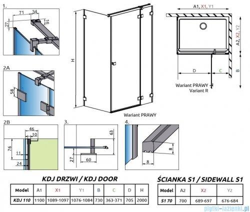 Radaway Essenza Pro Gold Kdj kabina 110x70cm prawa przejrzyste 10097110-09-01R/10098070-01-01