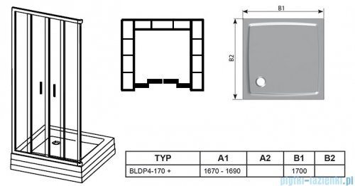 Ravak Blix BLDP4 drzwi prysznicowe 170cm białe grape Anticalc 0YVV0100ZG