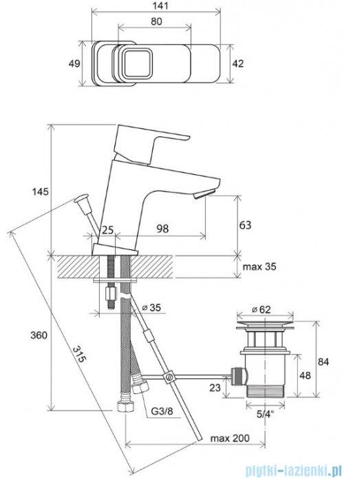 Ravak 10° bateria umywalkowa stojąca 140mm z korkiem X070063