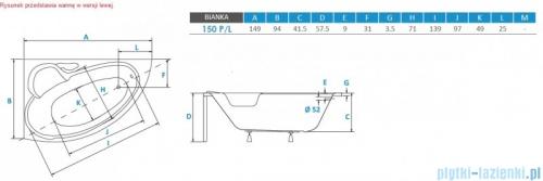 Piramida Bianka 150x95cm Wanna asymetryczna Lewa