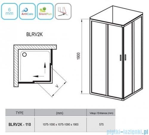 Ravak Blix BLRV2K drzwi prysznicowe 1/2 110cm białe grape Anticalc 1XVD0100ZG
