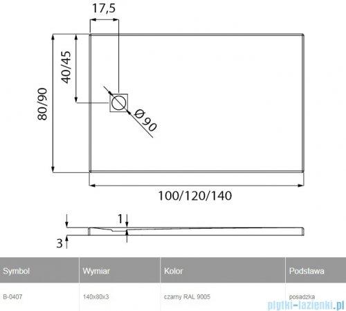 New Trendy Mori brodzik prostokątny z konglomeratu 140x80x3 cm czarny B-0407