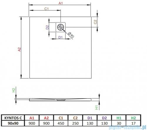 Radaway Kyntos C brodzik kwadratowy 90x90cm antracyt HKC9090-64