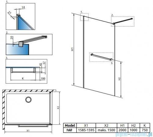 Radaway Modo New II z wieszakiem kabina Walk-in 160x200 szkło przejrzyste 389164-01-01W