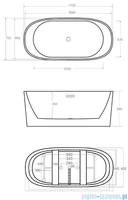 Corsan Salina wanna wolnostojąca 170x72 cm biała + syfon klik-klak rysunek techniczny