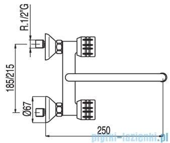 Tres Ese-23 Bateria zlewozmywakowa ścienna kolor chrom 1.23.416
