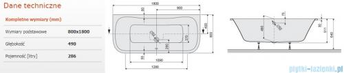 Sanplast Luxo WSP/LUXO Wanna przyścienna bez obudowy 80x180 cm + stelaż 610-370-0270-01-000
