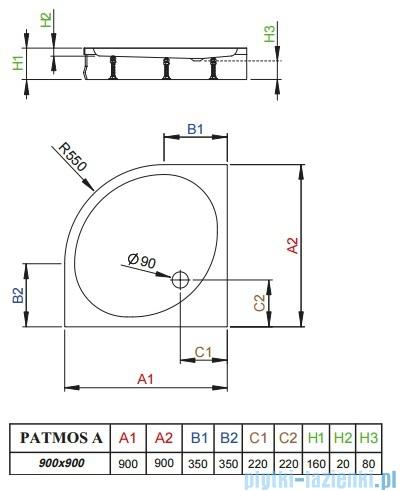 Radaway Brodzik półokrągły Patmos A 90x90 ze zdejmowaną obudową 4S99155-03